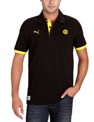 PUMA Herren Polo  BVB Fan, black-blazing yellow, S, 741911 01