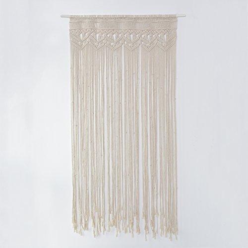 Cortina de macramé de gran tamaño hecha a mano con hilo de algodón, para colgar en la pared, en puertas o como fondo de decoración en bodas o fiestas