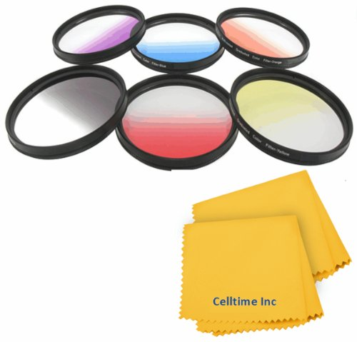 58MM Celltime Elite Graduated Color Filter Kit for CANON Rebel (T5i T4i T3i T3 T2 T2i T1i XT XTi XSi XS SL1), CANON EOS (1100D 700D 650D 600D 550D 500D 450D 400D 350D 300D 100D 60D 7D) - Includes: Graduated Red, Orange, Gray (ND), Yellow, Green and Purple Filters + Celltime Elite Cleaning Cloth