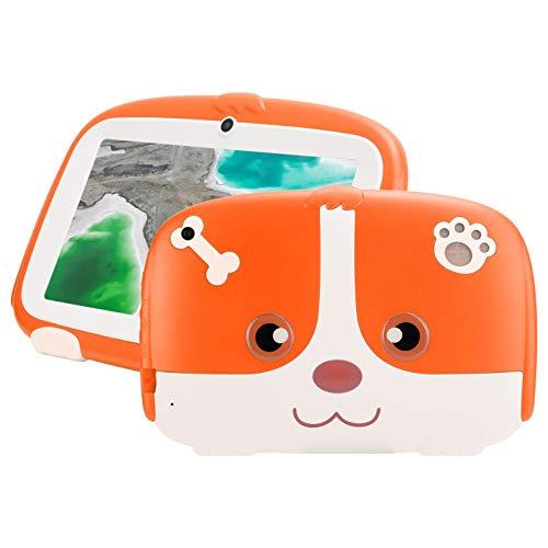 Estuche naranja a prueba de niños Pantalla de 7 ' Tableta para niños 1GB + 16GB Tableta de dibujo LCD para niños Lector electrónico de aprendizaje con lindo dibujo animado diseñado(Enchufe de la UE)