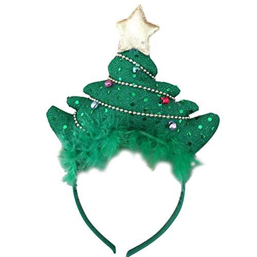 Amosfun Aro de Pelo de la Diadema del árbol de Navidad con el Headwear de la Venda del Partido de Bells