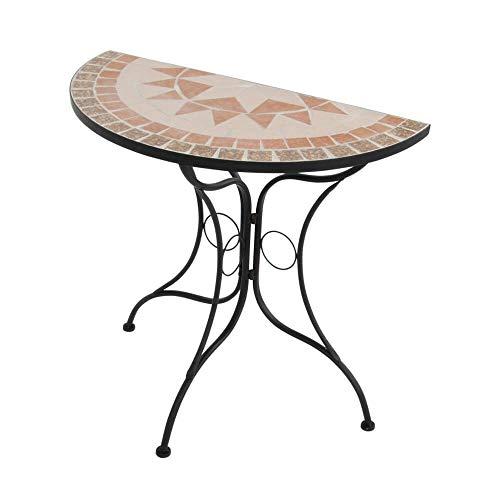 Halbrunder Gartentisch mit Mosaikplatte - Gartentisch Mosaik