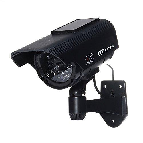 Tech Traders TTBSDC Überwachungskamera-Attrappe mit Solarpanel, wasserdicht, Schwarz