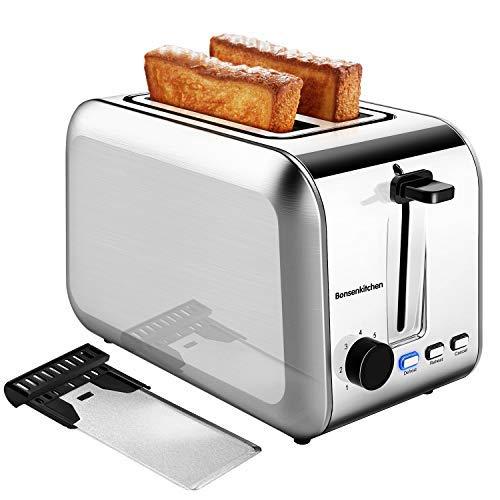 Bonsenkitchen 2 Scheiben Edelstahl Toaster mit 7 Bräunungsstufen und Krümelschublade, 750W, Auto-Pop-Up Toasters mit Auftau und Aufwärm Funktion, Silber Toaster TA8902