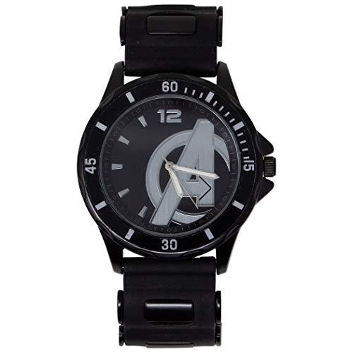 Marvel Men's Alloy Steel Quartz Watch with Rubber Strap, Black, 22 (Model: AVG1524AZ)