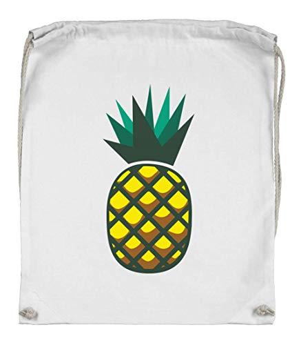 Druckerlebnis24 Turnbeutel - Ananas Cartoon Vitamine Frucht - Stoffbeutel aus Bio Baumwolle