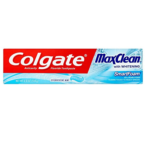 Colgate MaxClean SmartFoam mit Whitening Zahnpasta, Schäumende Mint 6 Unzen (12 Stück)