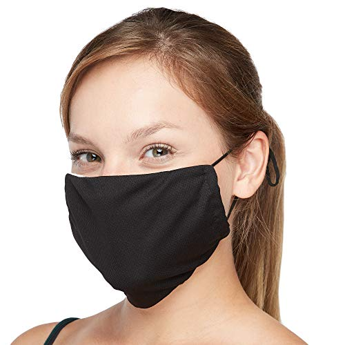 Everyday Defense Face Mask Stay Cool All Summer - Latest Cutting-Edge Anti Breakout Respiratory Mask Extend Disposable Mask Life Foldable Portable Washable Lightweight Cotton (Black)