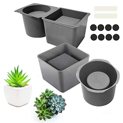 2 Pack Silicone Planter Mold, Concrete Planter Molds, Concrete Pot Mold for Plant Flower Pots Square and Round Shape Silicone Concrete Mold, Cube and Cylinder Resin Planter Mold for DIY Crafts Making