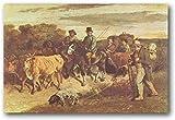 APAZSH Laminas para Cuadros Gustave Courbet los Campesinos de Flagey Que regresan de la Feria Lienzo póster Pared Arte Cuadros Impresiones Decoracion de Regalo 50x70cm x1 Sin Marco