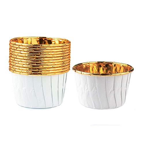 SPESH Cupcake-Hüllen,50er Pack Einweg-Muffin-Backbecher,für Weihnachten,Hochzeit,Geburtstagsfeier,7-Farben(Platin)