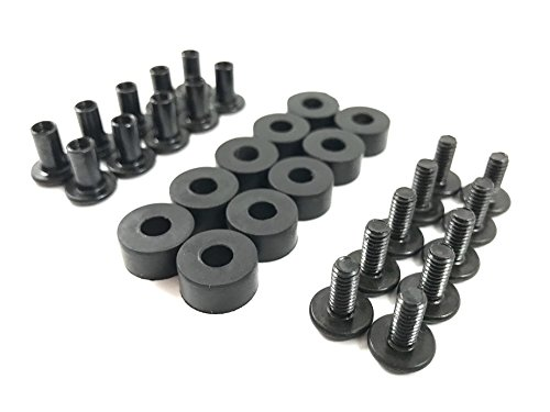 "Gun Guy Gear - Black Chicago Screw - Binding Post Kit - Open Back Slotted Fasteners for Kydex Holsters - 10 Pack Sets (1/4"" Length - 10 Pack)"
