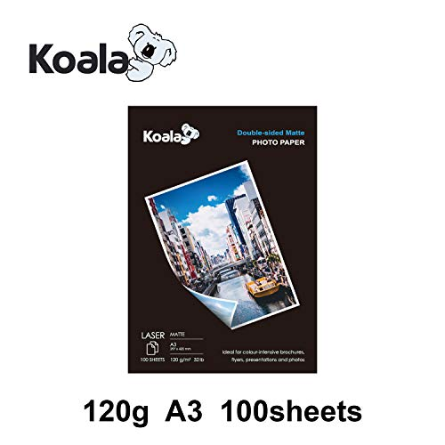 KOALA Papel Fotográfico Láser Mate de Doble cara, A3, 120 g/m², 100 hojas, para impresoras LASER. Adecuado para imprimir Fotos, Portadas, Certificados, Folletos, Volantes, Tarjetas, Calendarios