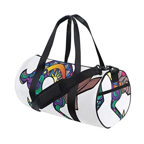 HARXISE Bolsa de Viaje,Liebre Kokopelli Figura Abstracta Colorida Silueta Símbolo Primitivo Espiritual,Bolsa de Deporte con Compartimento para Sports Gym Bag