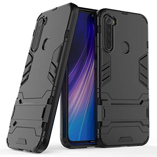 Happy-L Caso Xiaomi Redmi Note 8, TPU + PC Funda Protectora a Prueba de Golpes con Titular (Color : Black)