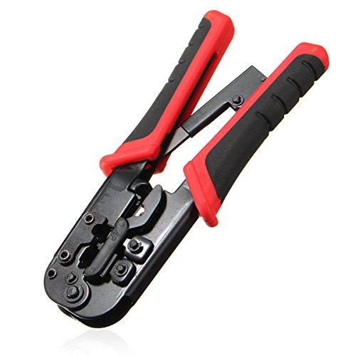 NUZAMAS Red LAN Cable Herramienta de crimpado Conector Red Alicates de engarzado Cable de red RJ45-8P8C Cable telefónico RJ11-6P6C / 6P4C 6P2C J12-4P4C
