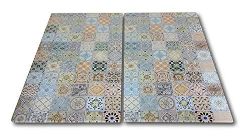 HCH 2 x Glas Herdabdeckplatte Herdabdeckung Schneidebrett Abdeckplatte für Ceranfeld Kochfeld Design Mosaik Kacheln
