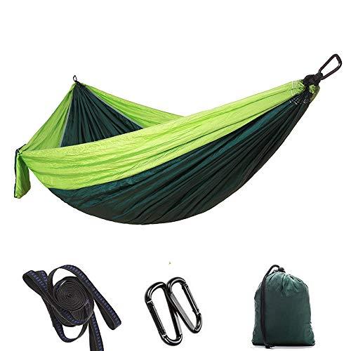 Dewanxin -ImFreien Ultra léger Voyage Hamac de camping Charge maximale 300 kg 100 % nylon respirant Séchage rapide 2 x mousquetons Premium 2 x poignées en nylon 300 x 200 cm Vert fruit