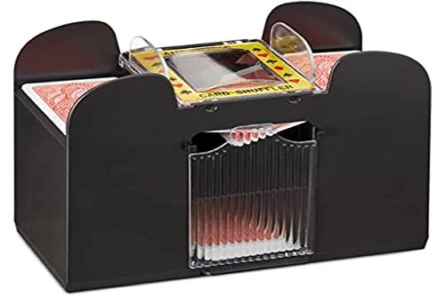 Relaxdays Mezclador de Cartas, Barajador Automático a Pilas, 6 Baraja