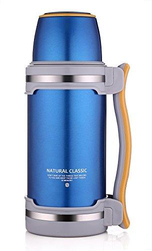 oneisall Edelstahl-Vakuumflasche, Vakuumisoliertes Getränk, Reise-Wasserkocher für Wandern/Camping/Training. Blau: 2,6l