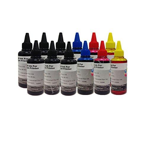KIT Ricarica Cartucce 12 Flaconi 100ml inchiostro colori universale per Brother, Canon, Epson, HP, LEXMARK, XEROX, DELL.