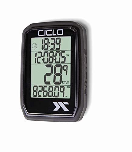 CICLO PROTOS 205 drahtloser Fahrradcomputer, in schwarz, mit 5 automatischen Funktionen