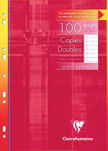 Clairefontaine 4725C - Un paquet sous étui 100 pages Copies doubles perforées 21x29,7 cm 90g lignées avec marge