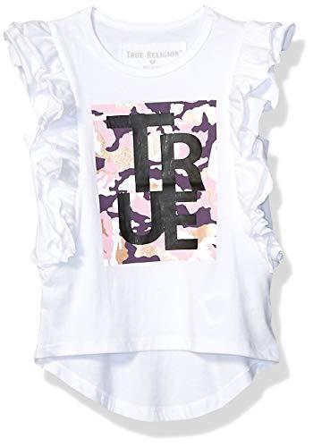 True Religion Girls' Toddler Fashion Short Sleeve Tee Shirt, Flutter el White, 3T