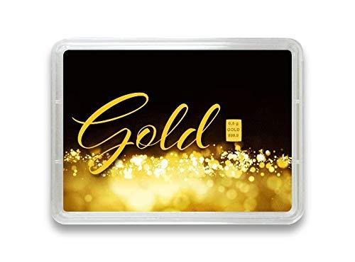 """Goldbarren 0,5g – Geschenk Motivbox """"Gold statt Geld"""" – Valcambi ESG - Feingold 999,9 (0,5g Gold)"""