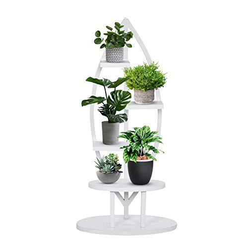 4-Tier Plant Stand, Modern Metal Multi-Purpose Curved Display Utility Shelf Plant Storage Rack Shelf Bonsai Flower Rack Flower Holder Pot for Office, Livingroom, Garden, Patio, or Balcony(White)