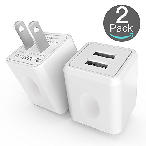 USB Wall Charger, Taymanso 2-Port USB Charger Home Travel Wall Plug Power Adapter for iPhone X 8/7/6 Plus SE/5S/4S,iPad, iPod, Samsung Galaxy S9, S8, HTC, LG, Table, Motorola and More(2 Pack)