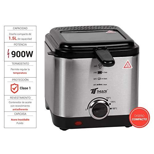 Thulos Freidora eléctrica de 1.5 litros de Aceite de Capacidad, con termostato Regulable y Recipiente con revestimietno Antiadherente TH-FR11 INOX.