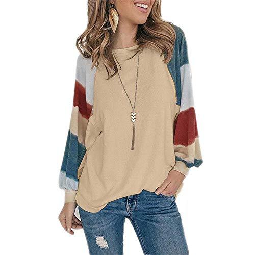 Pullover Camiseta De Manga Larga Cuello Redondo para Mujer ImpresióN Informal Urbana Top Suelto OtoñO