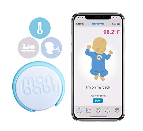 MonBaby Sleep Monitor with Body Temperature: Breathing, Rollover, Body Temperature Monitoring for Babies: Track Baby's Breathing, Sleeping Position and Body Temperature. (New Model)