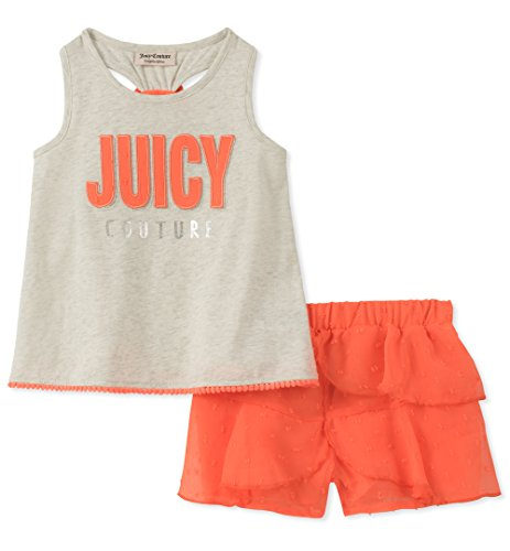 Juicy Couture Girls' Big 2 Pieces Shorts Set, Gray/Coral, 8/10