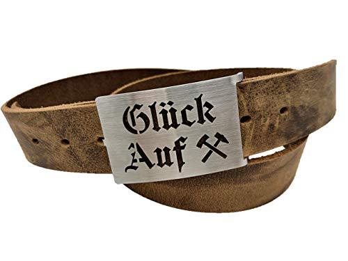 Gürtel Bergbau - Glück Auf - Handmade 38mm Ledergürtel - Gürtelschnalle aus Edelstahl - Die Geschenkidee - Bergmann - Kumpel - Zeche - Geschenk - braun - blau - schwarz - grau