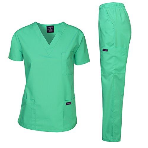 Dagacci Scrubs Medical Uniform Women and Man Scrubs Set Medical Scrubs Top and Pants, Hospital Green, Small
