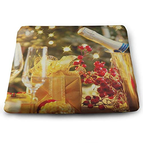 Golden Merry Christmas Wine Gift Chair Seat Cushions Pads Memory Foam Office Dining Kitchen Soft Chair Cushion Set of 4 for Pressure Relief, Wheelchairs, Patio, Cafe, Garden, Indoor, Non Slip