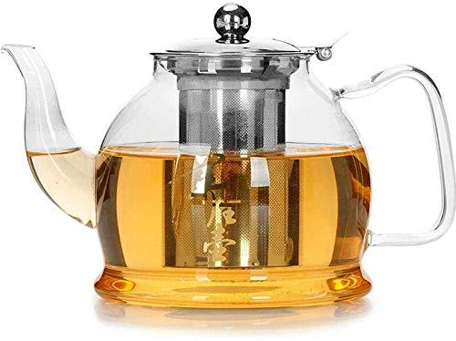 ZQADTU Tetera con colador Tetera de Cocina Cocina de inducción Juego de té hervidor Tetera Resistente al Calor Plano Transparente 1200ml