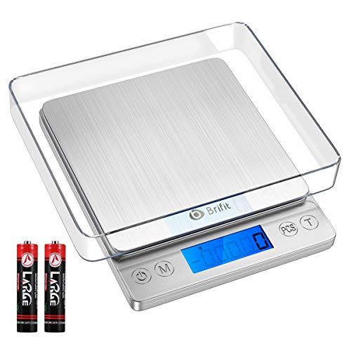 Brifit Küchenwaage Digital 5kg, Electronische Waage Präzision auf bis zu 1g, Briefwaage mit 6 Einheiten Konvertierung, PSC/Tara-Funktion, LCD-Anzeige, Digitalwaage aus Edelstahl für Küchen, Backen