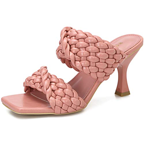 Women's Stiletto Mules Sandals Slip On Square Open Toe Dress Backless Heeled Slippers High Heel Slides Pink Leather PU Size US 8.5