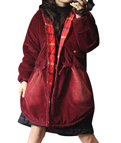 YESNO XF4 Women Fashion Casual Quilted Corduroy Hoodie Jacket Distressed Drawstring Waist Curved High-Low Hemline/Oblique Flap Pockets
