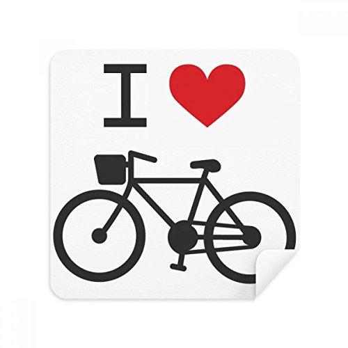 Ik hou van rood hart fiets patroon bril schoonmaken doek telefoon scherm reiniger Suede stof 2 stks