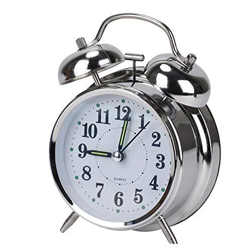 JSJJAYU Despertador para niños 4 Pulgadas silenciosa Cuarzo Fuerte Timbre de la luz de Alarma Noche con Alarma Plata Reloj Reloj Chapado (Color : White)