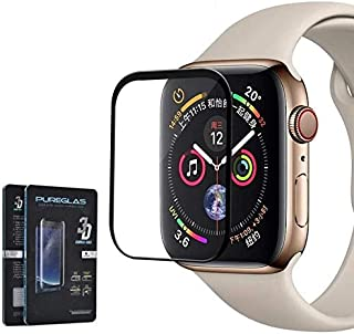 Glass Screen Protector 3D Curved Edge By Pureglas For Apple Watch 4 Series 44MM,Black Edges