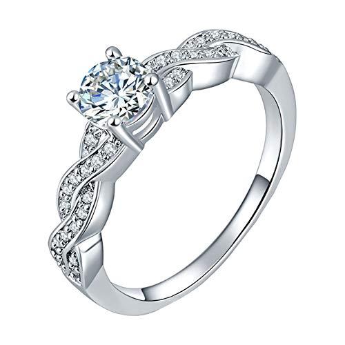 AIUIN 1X Anillo de Plata Tamaño de EE. UU. 7 Yardas Moda Cristal Blanco Man-Made Diamante Mujer Anillo Joyería y Accesorio
