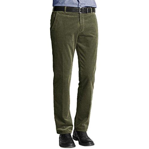 Pantaloni da uomo in velluto a coste in cotone per ufficio formale e casual, taglie forti, con tasca Oliva 50W x 29L corto
