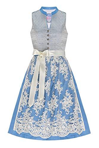 Edelheiss Midi Dirndl 65er hellblau Silber mit Spitzenschürze Viona 006868, Polyester Seide, Rocklänge: ca. 65cm, hochgeschlossen, mit Knopfleiste 36