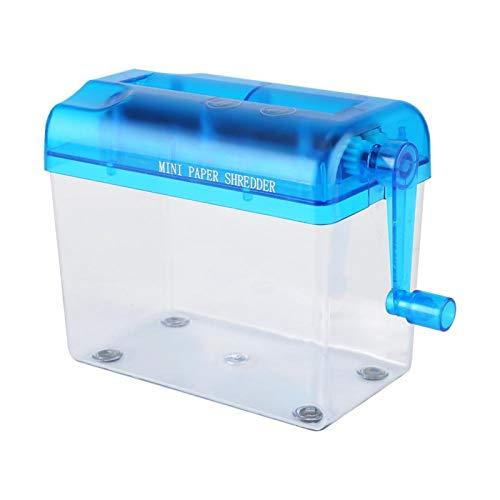 Deror Mini trituradora de Papel Manual portátil A6 Apta para la Escuela en casa de la Oficina(Azul)
