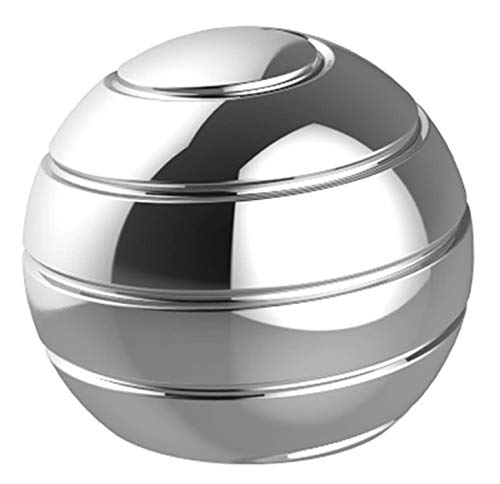 CaLeQi Kinetic Schreibtischspielzeug Office Metal Spinner Ball Gyroskop mit optischer Täuschung für Anti (Silber, Durchmesser: 45 mm)